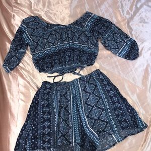 ❌SOLD❌Peppermint USA Blue Patterned Two-piece